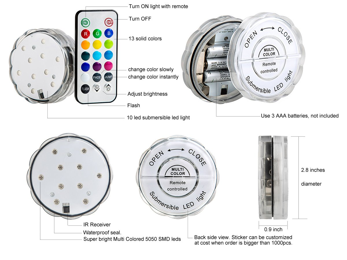 details of remote controlled submersible LED light