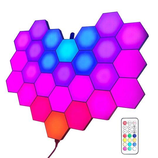 RF remote programmed hexagon lights
