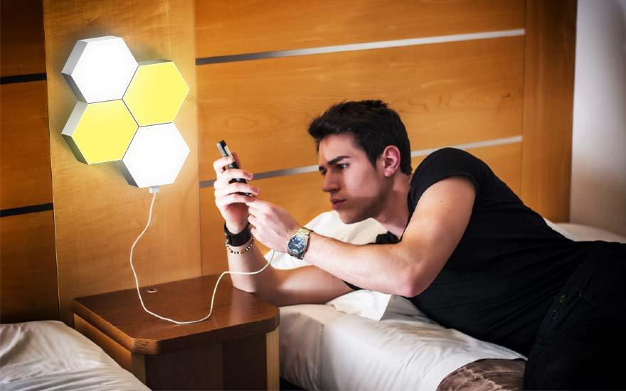 hexagon lights to charge mobile phone