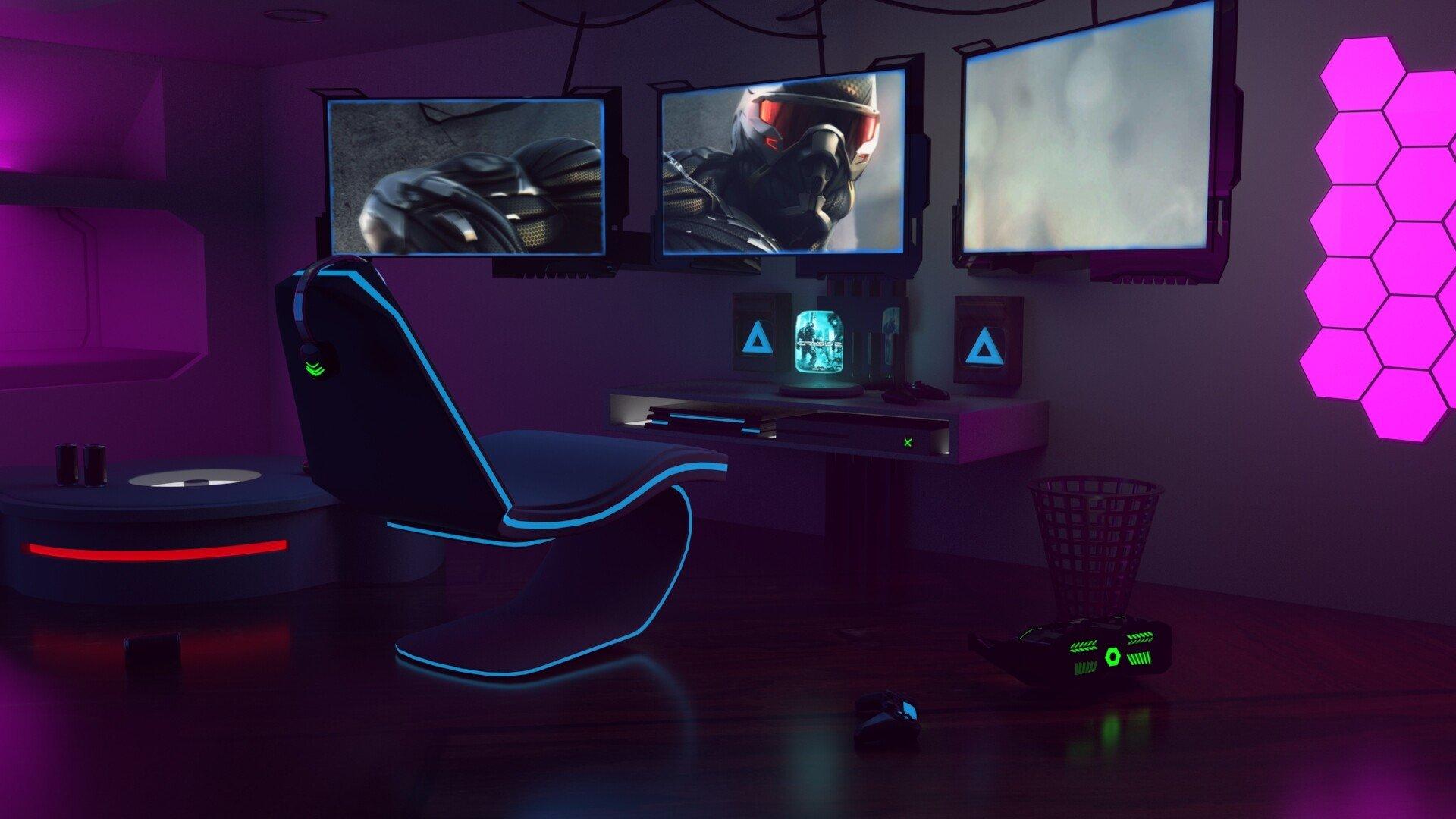 hexagon pink gaming room lighting