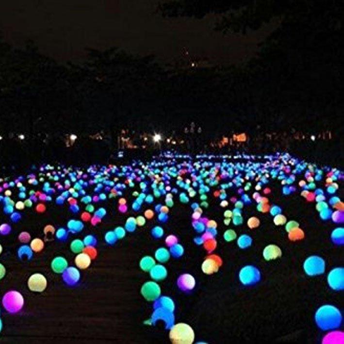 LED orb lights on grass in garden