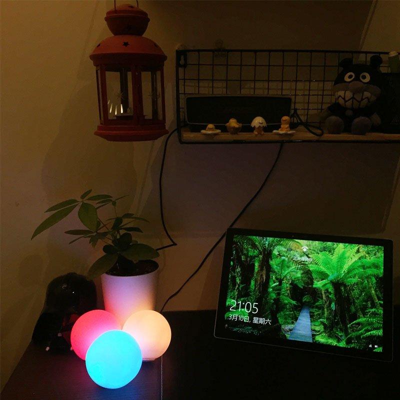 led orb light on table