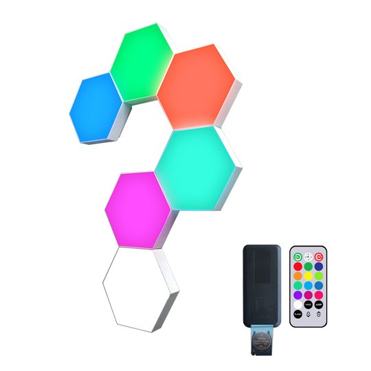 multi color hexagon lights