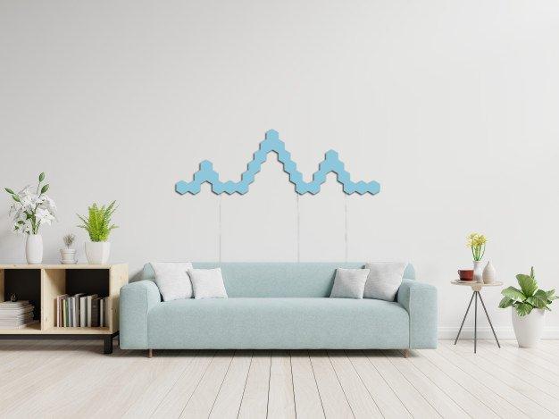 blue hexagon lights in sitting room